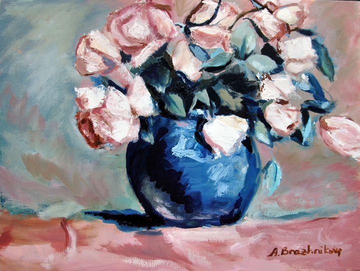 Pink Roses in Blue Vase - AnnaBrazhnikova