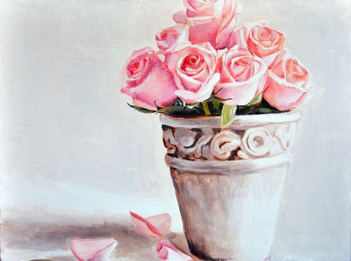 Pink Roses in Clay Vase - AnnaBrazhnikova