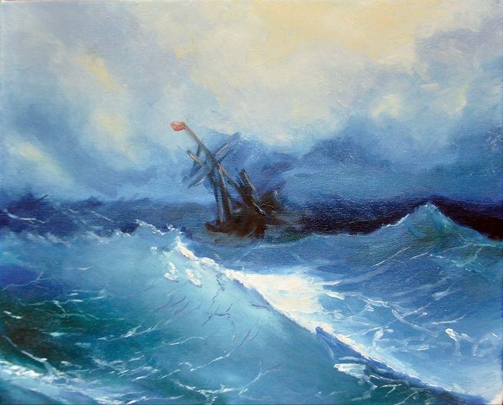 sea painting, stormy sea painting - AnnaBrazhnikova