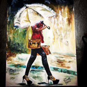 Girl with broken umbrella
