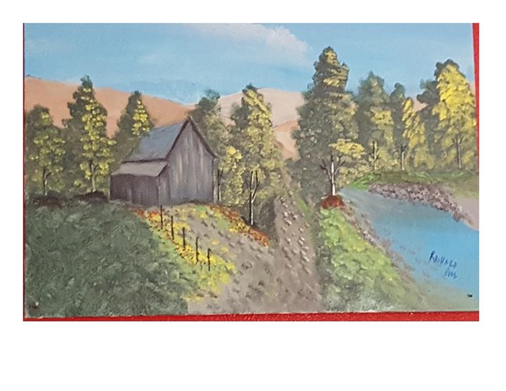 Cabin by the stream - blues' arcylic paintings