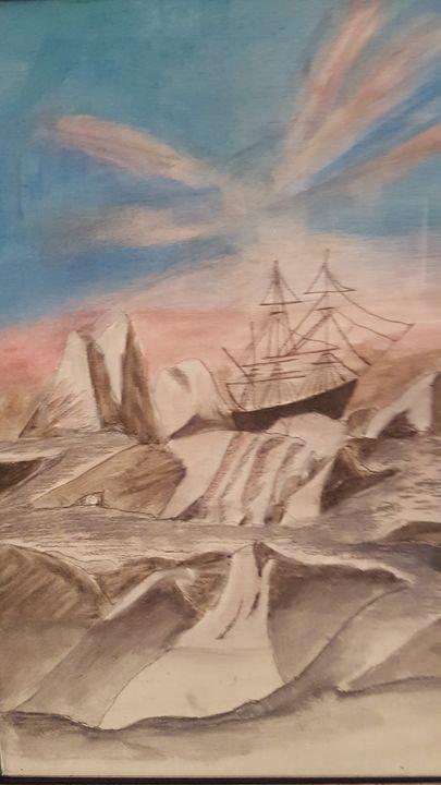 ship on ice - blues' arcylic paintings