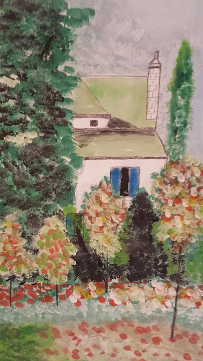 Trees with color my house - blues' arcylic paintings