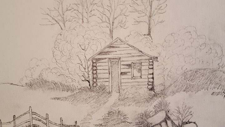 old Cabin in the wood - blues' arcylic paintings
