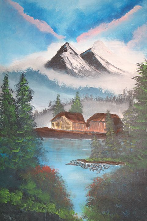 Cabins in the woods - blues' arcylic paintings