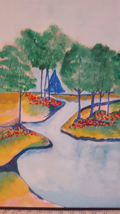 colorfule lake and flowers - blues' arcylic paintings