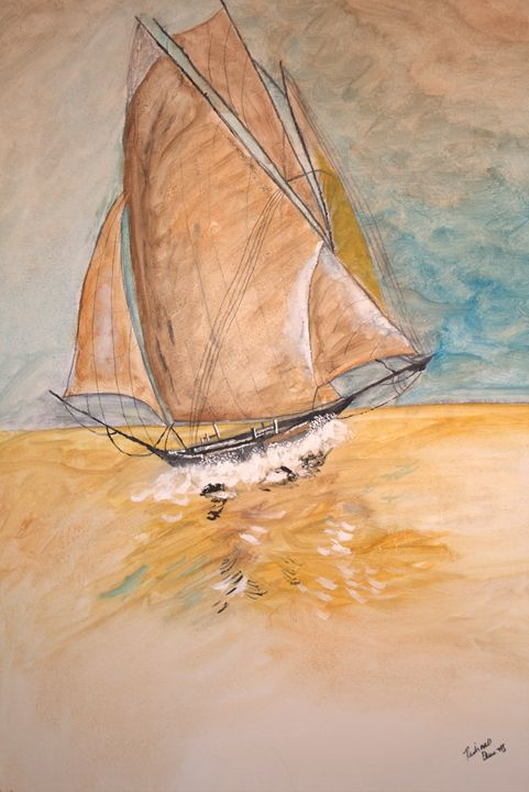 Rough Sailing - blues' arcylic paintings