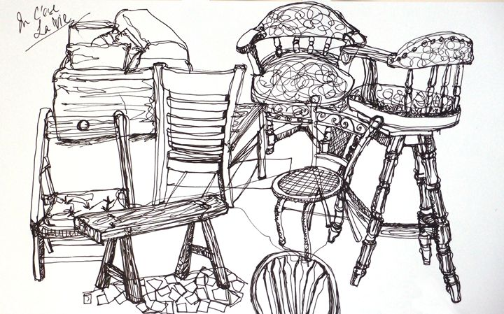 Chairs in cafe - all day sketches