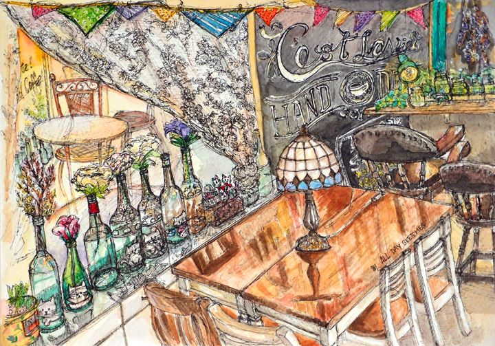 C'est la vie-cafe in Hong Kong - all day sketches