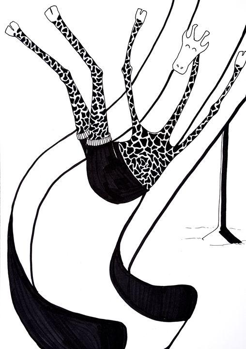 The Topless Giraffe Sliding - The Fine Black Pen
