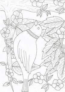 Bird,flowers,leafs