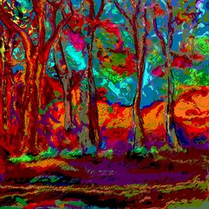 Red colourful abstract forest