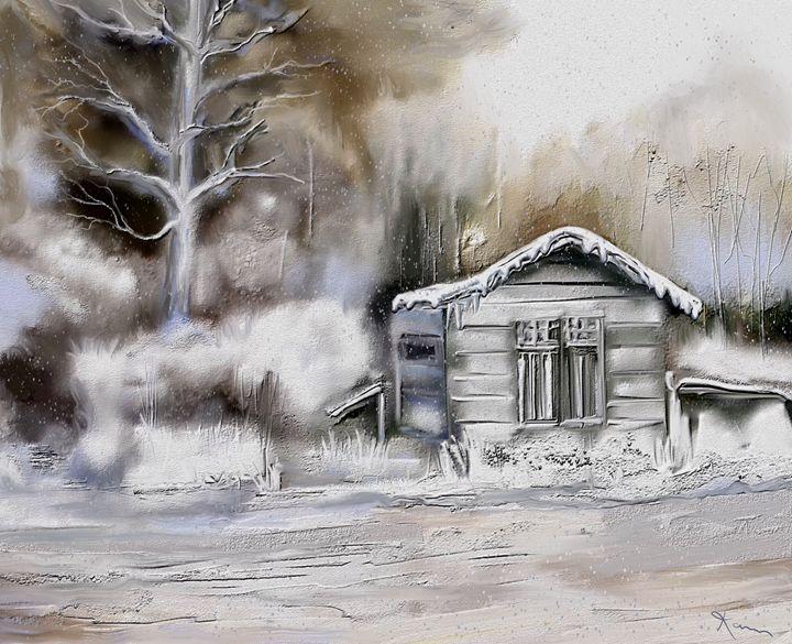 Winter Cabin - Karen Harding Artist