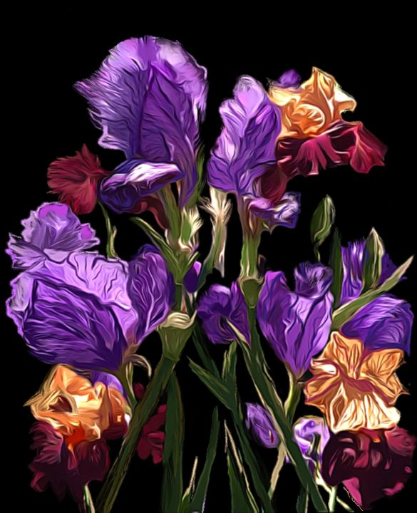 'Purple and Yellow Floral - Karen Harding Artist