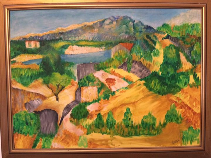 cezanne inspired - oil painting,wood burning and mosaic