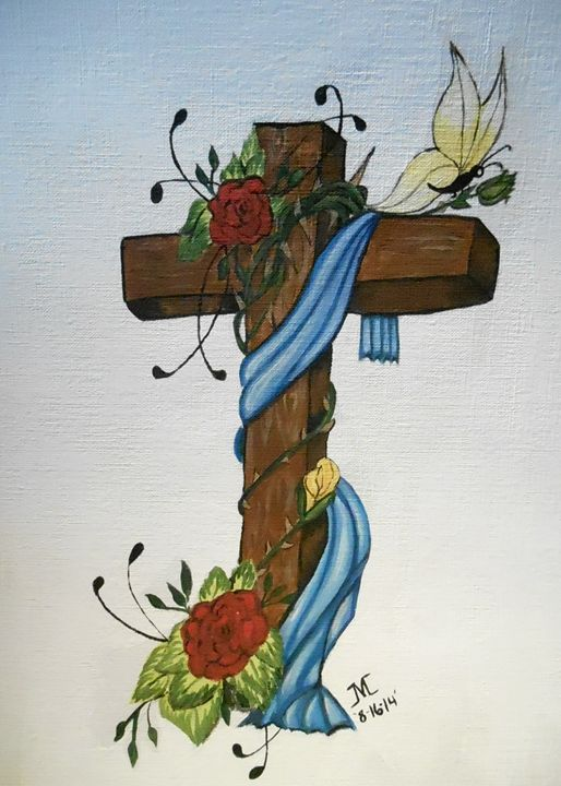 Blue wraped cross with roses - JMC Arts & Crafts