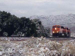 Train in desert snow