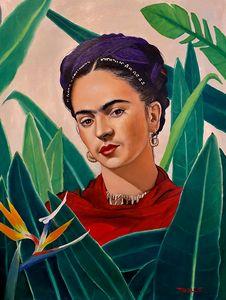 Frida Kahlo with Birds of Paradise