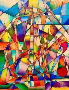 Cubist abstract Space Mountain