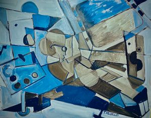 Abstract Cubist film editor in Blue