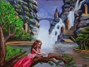 The girl reading, canvas board,