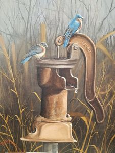 Bluebirds at the Farm - Art the Snitz way