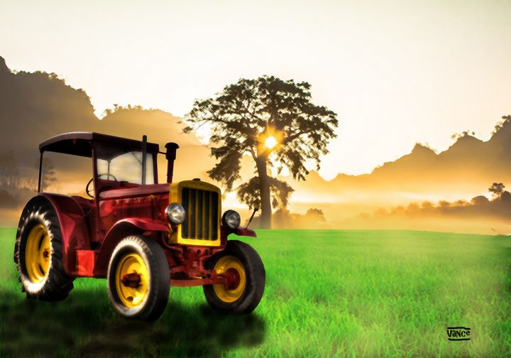 Tractor in the sunset - Vance Morgan