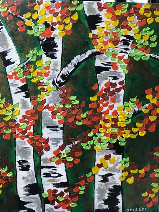 Birch trees in fall - LindArt  Studio