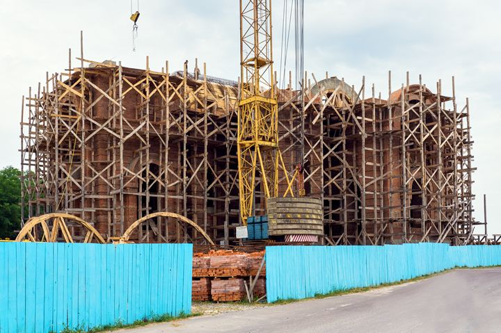 Construction of the church with the - The most