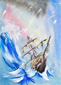 Antique ship in the storm