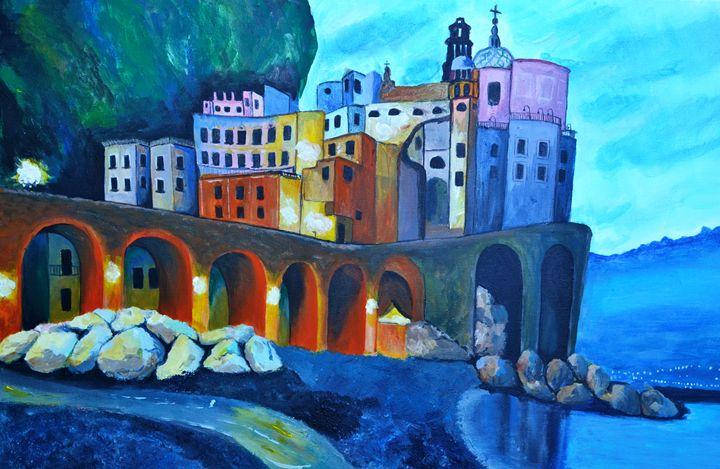 Atrani Italy Acrylic Painting - Cristina Vivi