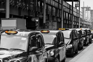 Queue of London Black Taxi Cabs
