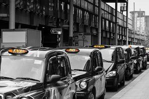 Queue of London Black Taxi Cabs