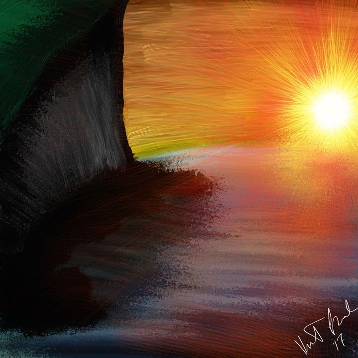 Cliffside sunset - Digital art by Kel
