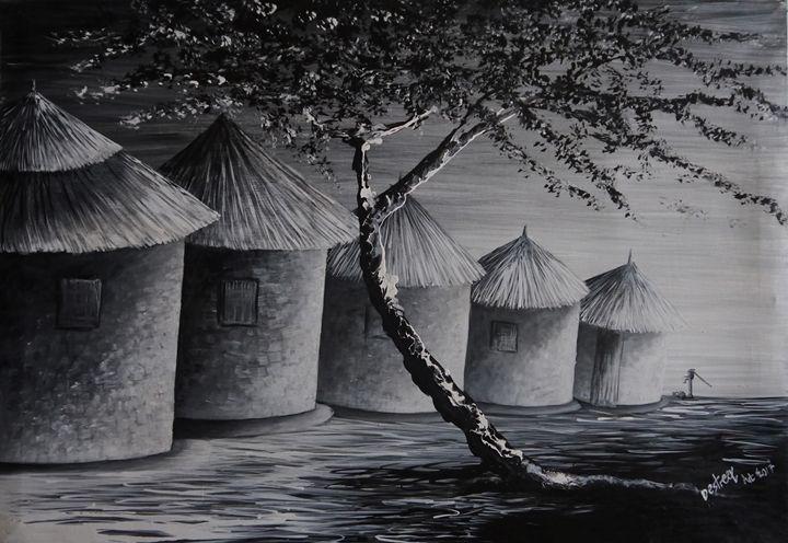Upcountry settlement Uganda - Destreet Art Gallery Africa