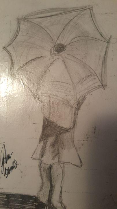 Girl under umbrella - Joshua Osswald