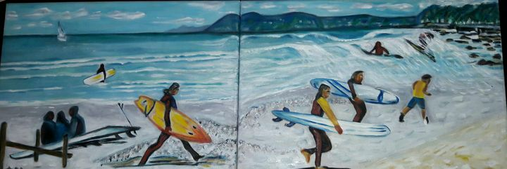 Surfers at muizenberg beach,cape tow - A.M.Gallery