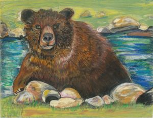 Bear Splash - Crys Cameron fine Art