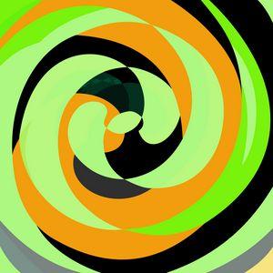 Abstract Spirals Green/Orange