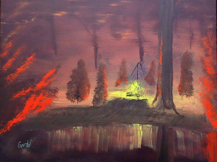 Campfire Nighttime Reflections - Gordon Nelson