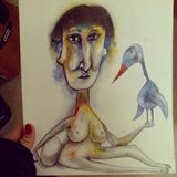Print of naked woman with bird