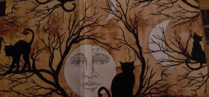 CAT AND MOON FACE MASK