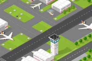 Isometric airport runway