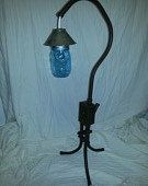Steel table lamp with mason jar lens