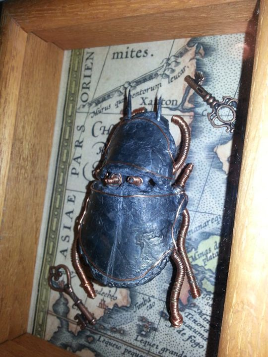 Steampunk Scarab in Shadow Box - Happy Green Living