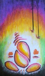 Oil Pastel Ganesha Painting