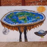 Flat earth oil painting