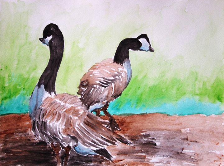 Two ducks in a garden - Symplisse Art