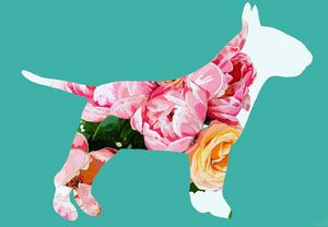Peonies and a Bull Terrier