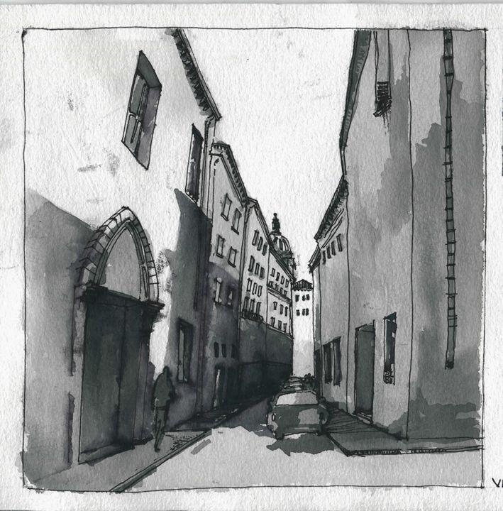 Walking through via D. Fernelli - My watercolours art works